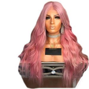 Frente del cordón pelucas rosa pelo de la onda larga de 180 Desnity resistente al calor Negro Para Mujeres sintético lacefront peluca con rayita natural