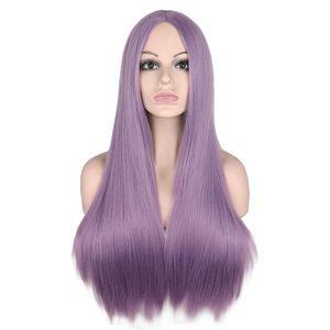 9 colori parrucca lungo rettilineo Medio Parte per Pink Bianco Donne Nero Arancione Viola Capelli grigi termoresistenti parrucche sintetiche dei capelli