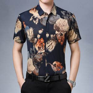 Plus Size Mens Clothing For The Summer Flowers Printed Hawaiian Clothes Beachwear 2020 Casual Blouse With Short Sleeves Pink