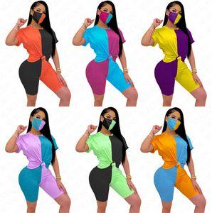 Verano de las mujeres del contraste del bloque del color del chándal Traje de tres piezas de manga corta Top + Shorts + Máscara apretado D63005 del remiendo Ropa de deporte Ropa S-XXL