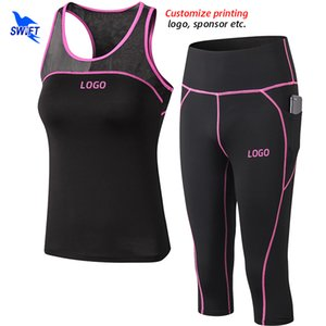 2020 Summer Breathable GYM Yoga Set Stretch Fitness Sport Suit Tank Tops+Capri Pants 2Pcs Running Tracksuit Customize Clothing