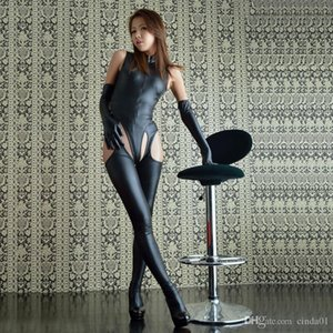 Halloween Christm Womens Sexy Wetlook Look Catsuit con Open Body in cuoio con Bodystoc
