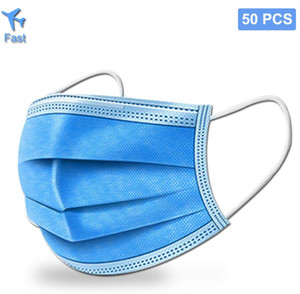 Disposable Face Masks meltblown 3 layers Mask free shipping Disposable Face Masks Air Pollution germ Protection
