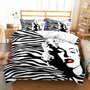 BEST.WENSD 2019 New Marilyn Monroe conjuntos de cama preto brancos king size edredon cobrir conjuntos quarto suave conjunto de Consolador ropa de cama