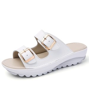 Plus Size 42 Womens Slippers Summer Beach Shoes Women Slippers Genuine Leather Clear Slide Sandals Comfort Thick Sole Slippers Wedge