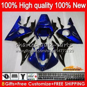 Bodys para YAMAHA YZF R6 S YZF600 YZFR6S YZFR6S 06-09 60HC.111 YZF600 YZF R6S 06 07 08 09 2006 2007 2008 2009 balck azul carenado + 8Gifts