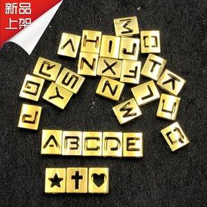 26 шт. полые металлические буквы слайд подвески Золотой квадрат первоначальный алфавит слайдер подходит для 8 мм кожаный сетчатый браслет брелок ожерелье