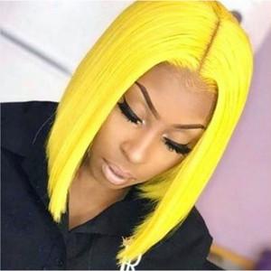 613 금발 BOB 13x6 레이스 프런트가 인간의 머리 가발 노란색 짧은 길이 직 모형 BOB 가발 130 % 사전 뽑아 레미 헤어 컬러
