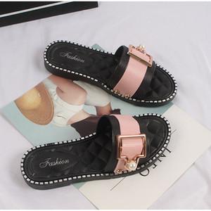 Donna Scarpe Pantofole PU Estate Pearl signore dell'ufficio di cristallo piatto Zapatos 2020 Moda Femminile Comfort Footwear Woman Slides Nuovo