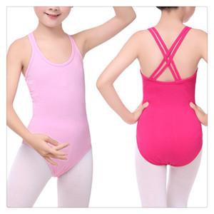 Niños lindos de la muchacha de la gimnasia de algodón ballet body high elástico doble sling dancewear performance clothing 2019 multi colores