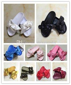 Feminino pm mulheres fenty bandana de slides designer de chinelos de luxo sandálias corte estilo clássico palácio Rihanna arco barato roxo vermelho branco preto