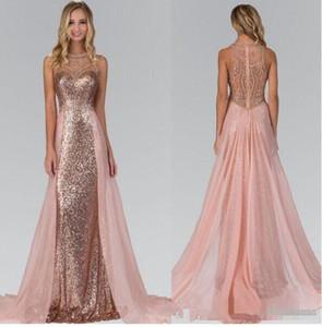Rose sirène pailletée Prom robes longues 2020 Cristal Vestidos formales de noche longue arabe Soirée formelle Dresse Vestidos De Fiesta