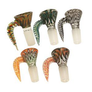 Colorato Heady ciotola di vetro con grande corno di bue maniglia 14 millimetri 18 millimetri Maschio comune per vetro gorgogliatore e Ash Catcher Glass Bong tubo di acqua
