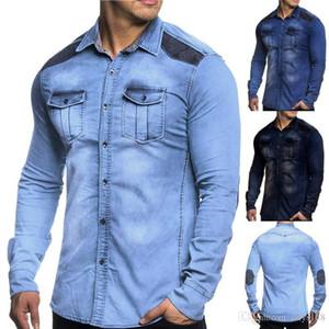 nueva personalidad de la moda desgaste diseño del hombre de lavado de la manga camisas casuales de lujo Yeso hombres cultiva a sí mismo camisa de algodón de manga larga Jac