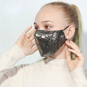 Ücretsiz Gemi Parlak Pullarda Yıkanabilir Tasarımcı Maske Yüz Ağız Yeniden kullanılabilir Pamuk Koruma Masker Anti-Dust Masker Karşıtı Kirliliği Maske