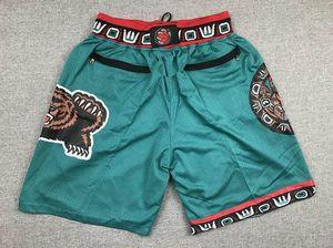 hommes VancouverGrizzlies de basket-ball Shorts Retro Juste Don Cousu Ja Morant Pocket Throwback Sweatpants vert Tailles S-XXL