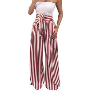 Zadorin 2019 Verano Nueva pajarita pantalones anchos de la pierna de las mujeres de cintura alta pantalones de rayas largas sueltas pantalones boho casuales pantalones palazzo Y19070301