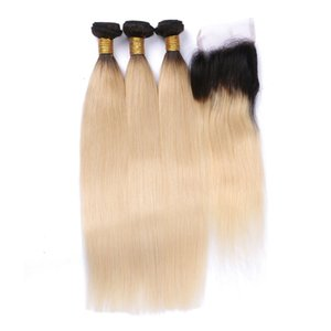 1B 613 Blonde Virgin Hair With Closure 3 PC Ombre Straight Brazilian Virgin Human Hair Weft With Closures