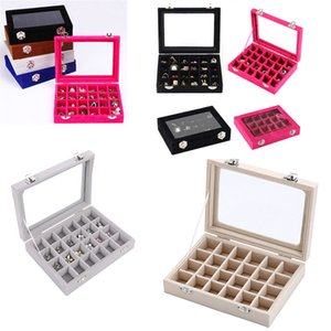 Velvet Glass Jewelry Ring Display Organizador Box 24 Grid Tray Holder Pendientes Caja de almacenamiento howcase Display Almacenamiento de cajas