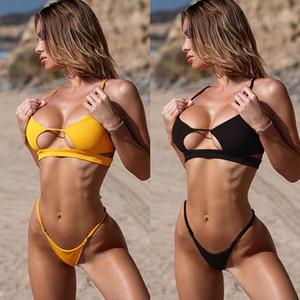 Womens Swimwear profundo decote em V Sexy oco Out Biquinis Natural Color Designer Womens Swimwear Moda Two Piece