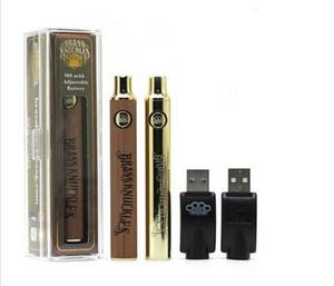 BK 건전지 금관 악기 너클 건전지 E 담배 Vape 펜 650mAh 900mAh 건전지 두꺼운 기름 카트리지를위한 금 나무로되는 SS 예열 VV 건전지
