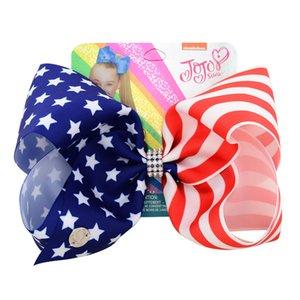 """8"""" флаг США JoJo Луки зажим для волос большой волос Лук дети ручной работы Лента узел Jumbo JOJO SIWA аксессуары для девочек"""