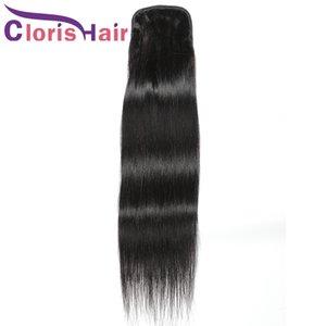 Cordão Humano Cabelo Rabo Hetero Malásia Virgin rabo de cavalo cabelo com grampos Em For Women Cheap ajustável Rabo extensões do cabelo