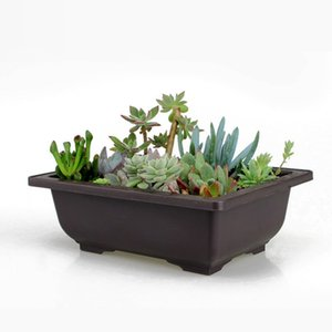 Hochwertige Garten Töpfe Blumentöpfe Topf Imitation Balkon Platz Töpfe Blumen Bonsai Bowl Planter Rectangle Bonsai neue CJ191226