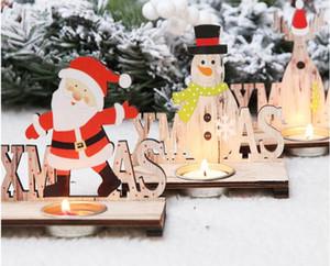Papai Noel Natal Castiçal de madeira Ornamento do Xmas presente desktop Decor Para Decor Cafe Bar festa de Natal Início
