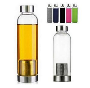 22 Unzen Glas-Wasser-Flasche BPA frei Hochtemperaturbeständige Glas Sport-Wasserflasche mit Teefilter Infuser Neopren-Hülsen-Abdeckung BC BH3717
