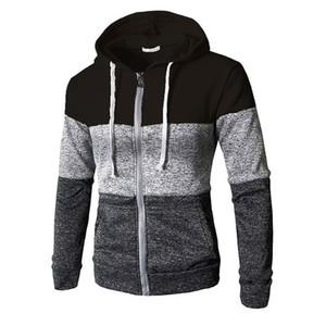 Para hombre de la más nueva postal en capa elástica del suéter de las tapas ocasionales de la chaqueta del basculador de la cremallera Outwear suéter masculino otoño invierno con capucha Sweatercoats