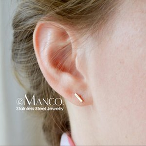 e-Manco Korean style Small Stud Earrings for women Fashion Stainless Steel Safety Pin Ladies Earrings Studs Jewelry Y200323