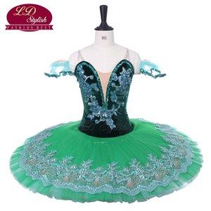 Verde escuro adulto profissional ballet tutu trajes panqueca tutu ballet stage desgaste gilrs competição dancewear mulheres desempenho ballet dress