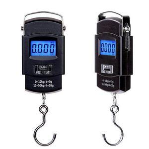 50KG الالكترونية المحمولة مقياس رقمي الشنق هوك الصيد سفر الأمتعة وزن مقياس توازن الميزان القبان دي إتش إل الحرة 505