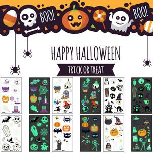 Koyu Geçici Dövme Festivali Oyuncak Body Art Sticker Halloween Parlak Dekorasyon Dövme Kabak Ölüm Kedi Skullcandy Tasarım Parlayan