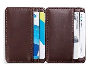 GO 2019 mujeres adelgazan malesharbes cad cartera de cuero titular de hombres de negocios del Banco paquete de la tarjeta de bus de tarjetas de crédito de tarjetas de identificación buena moneda del caso de bolsillo