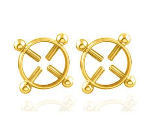 1 Paar Edelstahl Schraube gefälschte Nippel Ring - Mode Piercing Körperschmuck Frauen Piercing Brustnagel Schraube Ringe