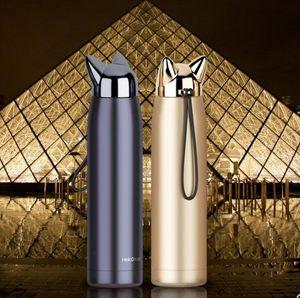 Двойные стены Термос из нержавеющей стали термосы Чашки Cute Cat Fox Ear Тепловое кофе Молоко путешествия бутылки воды Чашку 320ml