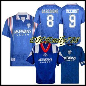 92 94 Glasgow Rangers Retro soccer jerseys 96 97 home blue #8 GASCOIGNE #11 LAUDRUP #9 MCCOIST Soccer Shirts#3 ALBERTZ football Uniforms