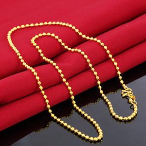 Heißer Verkaufs-Concise Halskette Top-Qualität Messing No Fade Vietnam Alluvial Gold Rund Perlen Halskette