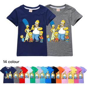 Симпсоны хлопок летом случайные вершины мальчиков и девочек с короткими рукавами футболки для младенцев Детская одежда Топы Тис shirts518
