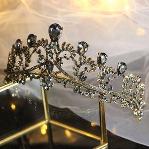 Queenco Vintage Black Crown cristal de mariage diadème de mariée Accessoires cheveux Princesse Diadem Bandeau Floral Bijoux de cheveux