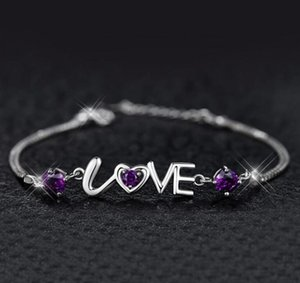 Romantic love fashion female silver-plated hand jewelry female love double diamond heart and heart bracelet WY1172