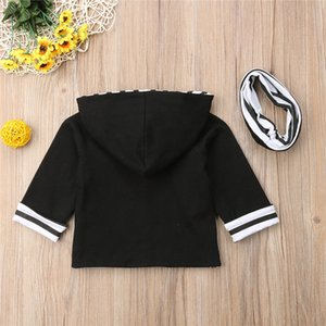 Striped Toddler Infant Baby Boys Thick Sweatshirt Clothes Tops Hoodies+Scarf Outfit Autumn Winter