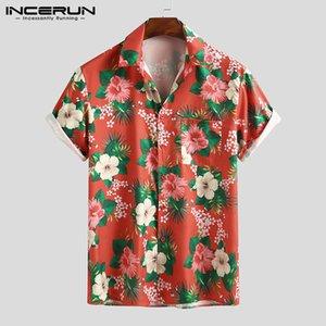 Men Floral Shirt Fashion Flower Printed Shirts Casual Short Sleeve Lapel Blouse Hawaiian Summer Beach Breathable Tops INCERUN