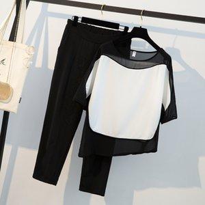 Hamaliel Yaz Siyah Beyaz Patchwork Şifon Gevşek Gömlek Kadın Pantolon Takım Elbise Ve Artı Boyutu Elastik Bel Ayak Bileği Uzunluğu Pantolon Y19062601 Suits