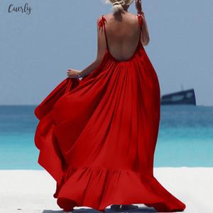 Plus Size Summer Beach Dress Women Elegant Black Spaghetti Strap Long Dresses Women Clothes 2020 Dress Ladies Backless Dresses