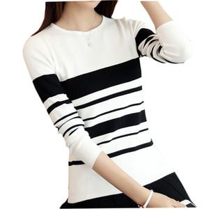 Kumeiya Frauen Pullover Pullover 2019 Herbst Winter Gestreifte Dünne Strickpullover Weibliche Mode Wilde Strickwaren Schwarz Weiß
