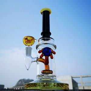 5 mm d'épaisseur tuyau d'eau Heady Verre Bang tube droit Bong huile Dab Rigs avec pomme de douche Perc 14mm Bowl CS1223