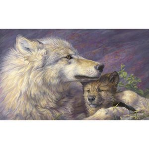 Wolf oil painting Mothers Love Canvas art modern animal paintings for office room Hand painted